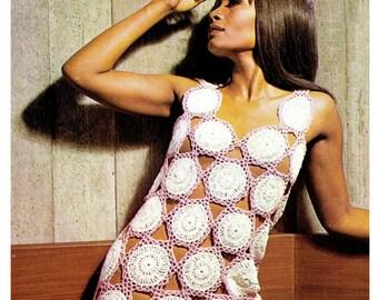 "Vintage 70's Crochet ""Mini Dress"" PDF Pattern - UK"