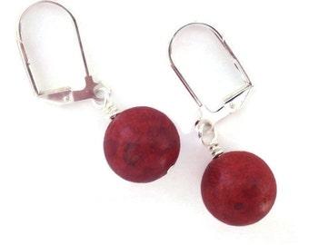 Red Earrings, Sponge Coral Earrings, Red Stone Earrings, Red Dangle Earrings, Simple Red Earrings, Bright Red Earring, Sponge Coral Jewelry