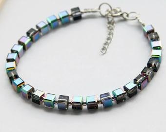 Swarovski Cube Bracelet, Sterling Silver Cube Bracelet, Crystal Vitral Medium