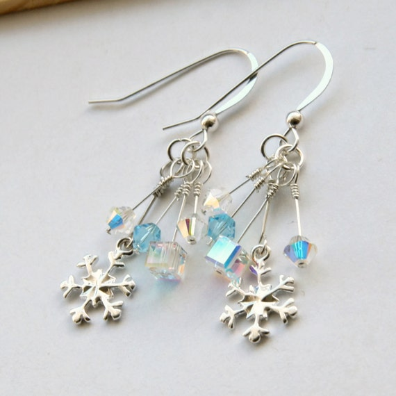 swarovski snowflake earrings swarovski snowflake earrings sterling silver snowflake 6068