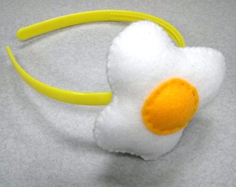 Sunny Side Up Egg Headband - Felt Plush Accessory