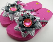 Pink and Gray Girls Flip Flops- Child L (Size 1 to 2)
