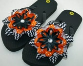 Black and Orange Chevron Flip Flops- Childs M (Girls 11 to 12)