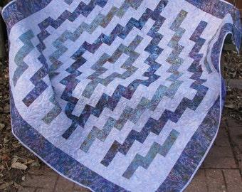 Lap Quilt, Sofa Quilt, Quilted Throw - A Purple Puzzle Batik Lap Quilt