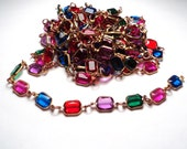 9 1/2  feet - Vintage acrylic multi color channel link chain - m122