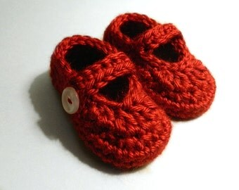 Red Baby Mary Janes, Soft Red Baby Booties, Crochet Baby Shoes