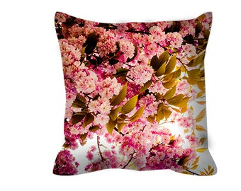 Pink floral throw pillow - includes insert