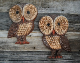 Vintage set of owl wall hangings
