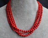 red coral necklace,  4 rows coral necklace, red necklace, real drop coral necklace, semi-precious stones necklace, wedding necklace