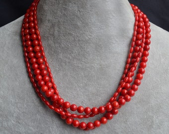 red coral necklace,  4 rows coral necklace, red necklace, red bead l necklace, semi-precious stones necklace, wedding necklace