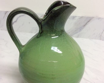 Vintage ceramic pitcher, apple green, made in Holland