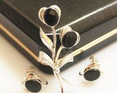 Sterling Silver Onyx Brooch and Earrings Set in Original box, Onyx Jewelry
