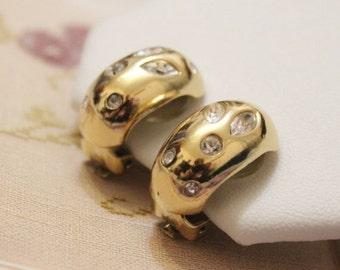 Vintage Grosse Earrings, Gold Rhinestone Earrings, Gold Clip Earrings