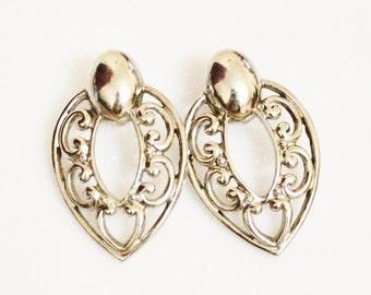 Vinatge Silver Earrings, Big Bold Earrings, Gifts Under 15