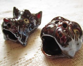 One Set of Vintage Cute Dog Ashtrays // Antique Pair of Head Dog Ashtrays // Cigarette or Cigar Items //