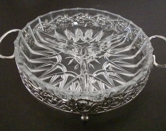 Glass Relish Tray, Glass 3 Section, Relish Tray With Silver Plate Holder, Made in England
