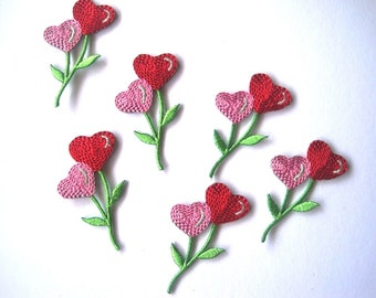 Heart Flower Embroidered Iron - On Applique, Red / Pink, x 6, For Romantic & Victorian Crafts