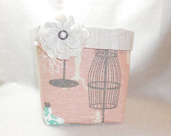 Peach And Cream Dress Form Fabric Basket With Detachable Fabric Flower Pin For Storage Or Gift Giving