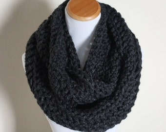 THE ORION - Oversized Infinity Scarf, Chunky, Wool-Blend, Crochet Infinity Scarf, Men's Scarf  / Charcoal