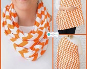 SALE Tangerine Orange Chevron Hold Me Close Nursing Scarf, Nursing Cover, Infinity Nursing Scarf