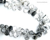 Tourmaline Quartz Pear Briolette. Smooth Pear Stone Briolette Bead. Semi Precious Gemstone Briolette. 8-10mm. 6 Bead Strand Clear Black