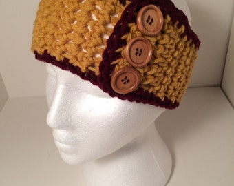 Minnesota Gopher Headband 3 button  Crocheted Handmade in USA