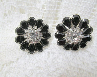 Clip on earrings silver toned with black glass stones and sparkling rhinestones