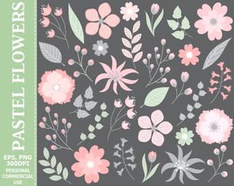 70% OFF SALE Digital Pastel Floral Clip Art - Leaves, Flowers, Wedding, Pastel, Blossoms Clip Art