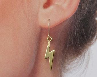 Lightning  dangle Earrings, gold  lightning earrings for everyday.