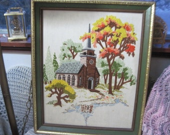 Church Crewel Vintage Embroidery Picture of a Peaceful Church ,Vintage Church,Church,Vintage Home Decor,