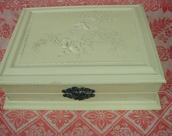 Antique Celluloid Jewelry Box, Cream Colored, Angel on Lid with Flowers, Gorgeous