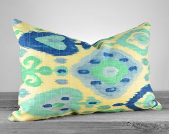 Pillow Cover - Richloom Django Ikat Turquoise - Navy, Aqua, Teal, Periwinkle and Ivory Pillow - Pick Your Pillow Size