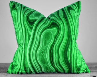Pillow Cover - Malachite Emerald Green Fabric - SAME FABRIC both sides - Pick Your Pillow Size
