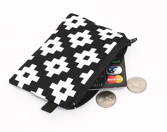 Coin purse, padded zipper pouch, womens small zip wallet, small zip change case - trendy black and white geometric print
