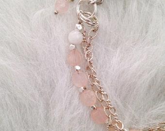 Rose Quartz, White Onyx and Silver Chain Tassel Bracelet