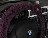 Crochet Steering Wheel Cover, Wheel Cozy with a Flower- dark orchid (CSWC 2SSS-F)