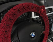 Crochet Steering Wheel Cover, Wheel Cozy with a Flower - burgundy (CSWC 2FFF-F)