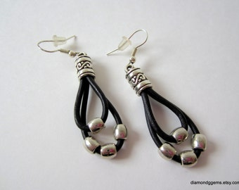 Black and Silver Leather Dangle Earrings Pewter and Leather Women's Earrings Filigree Pewter End Caps and Black Leather Cowgirl Jewelry OOAK