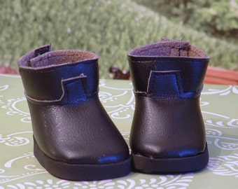 Faux Black Leather Ankle Boots for American Girl