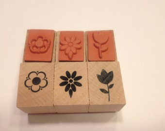 3 small flower rubber stamps, 15-20 mm (SB3)