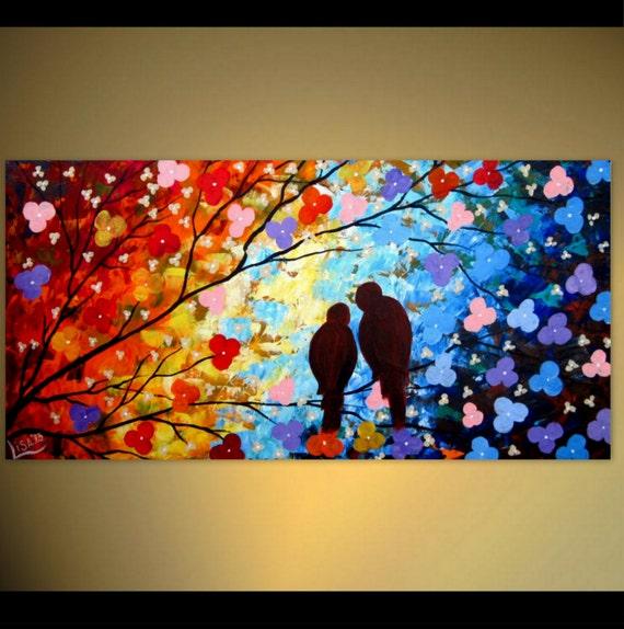 original love birds painting rainbow colors couple love. Black Bedroom Furniture Sets. Home Design Ideas