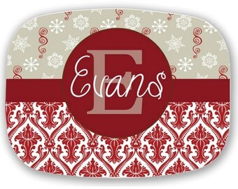 Design Your Own Personalized Melamine Platter, Monogrammed Christmas Platter, Hostess Gift, Wedding Gift, Christmas Gift, Housewarming Gift
