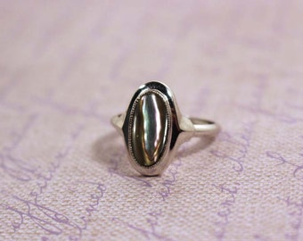 1977 Avon Abalone Shell  silver tone ring with box Vintage