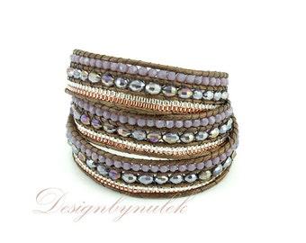 Purple crystal 3 time wrap bracelet.