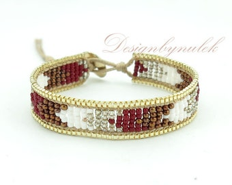 Brown and white japan seed beads wrap bracelet.