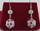 Spectacular Deco 2.60 Ct natural ruby and 1.60 Ct old cut diamond swing earrings