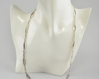 Sensational French Victorian solid silver guard chain