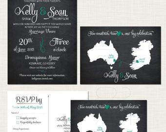 Destination wedding invitation Chalkboard black Two Countries Two Hearts bilingual wedding invitation RSVP set Ireland Australia