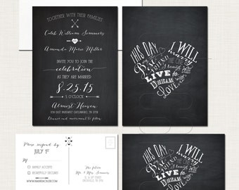 Chalkboard Inspired Wedding Invitation Card and RSVP This day I will marry my best friend - Heart Design Typography Wedding Invitation