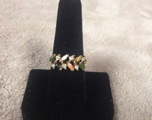 Vintage Goldtone Ring with Multi Colored Gem Accents